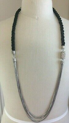 """CHICO/'S /""""Emme Tassel/"""" Long Black W//Silver Accent XLarge Pendant Necklace-$59-NWT"""
