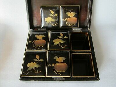 Original Antique Chinese Foochow Lacquer Ware Tea Caddy Set w/ 6-Storage Boxes