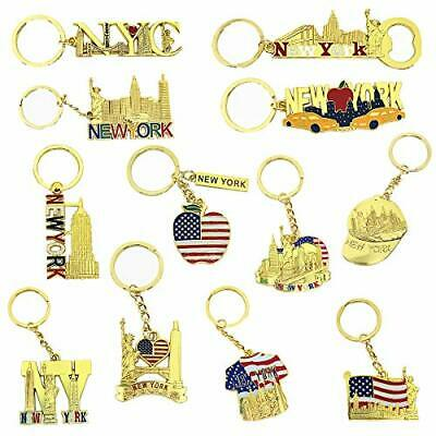 TSY TOOL 12 Pack Gold NYC Souvenir Keychain Collection New York Metal Keychain