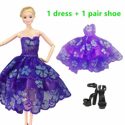Fashion Dress Clothes Shoes High Heel Sandals Set Outfit Accessories For Barbie