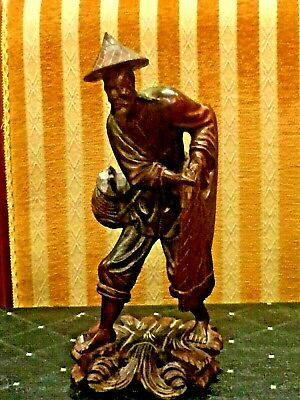 """Beautifule Antique Chinese Hand Carved Wood Figurine Statue Fisherman 12""""H"""