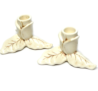 Vintage Red Wing Pottery Candlesticks Holder White Magnolia