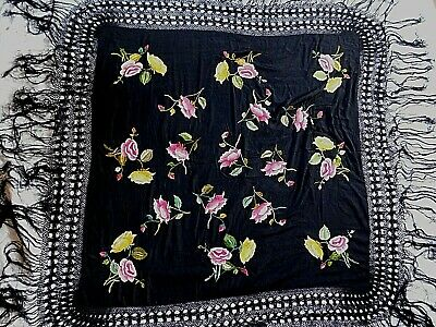 Antique/ Vintage Embroidered Silk Shawl, Unusual Fringing, Pink / Yellow Flower