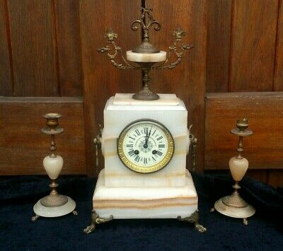 Vintage French L.P Japy Movement Comptoir General French Marble Mantel Clock