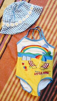 Little Bird swimming costume and Baby Boden sun hat, age 18-24 months