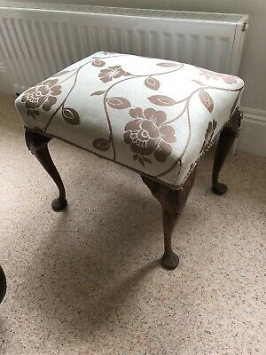 Solid Mahogany Victorian Piano Stool With Cabriole Legs. Recently Upholstered