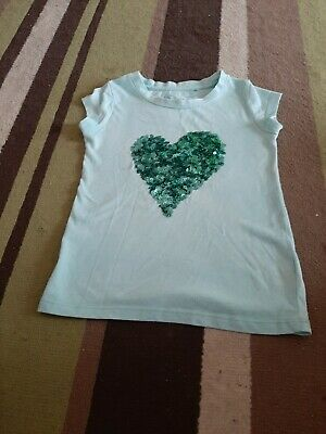 Girls Green T-Shirt With Sequined Heart, From Next Aged 4 Years