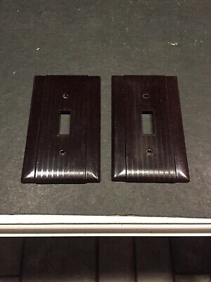 Pair Of Vintage Uniline BAKELITE Single Toggle Wall Light Switch Plate Covers