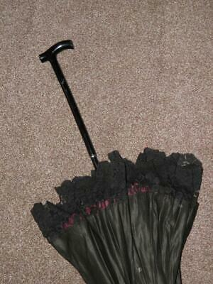 Antique Ebonised Ladies Black & Burgundy Laced Canopy Parasol *For Restoration*