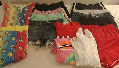 Lot Of Girls Shorts Shirts Swim Suit Coverup Size 12 -12/14 Justice Mud