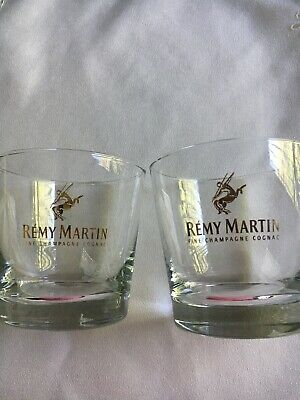 (2) Remy Martin Fine Champagne Cognac Lowball Rocks With Gold Lettering Mint