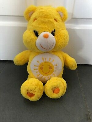 CARE BEARS FUNSHINE  Bear Soft Plush Toy Yellow TEDDY Bear. Sun Sunshine Logo