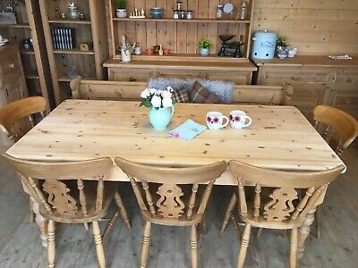 Large 8 seater 6ft Farmhouse solid waxed pine wood table and pew bench & chairs