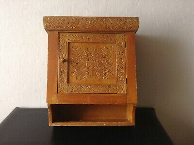Vintage Wooden Apothecary Wall Cabinet Hand Carved Wood Old Medical Shelf