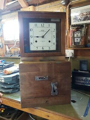 Vintage Industrial National Time Recording Oak Cased Clocking In Machine Clock