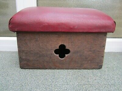 Antique Oak Carved Hand Made Church Prayer Kneeling Stool Rest Perch Gothic