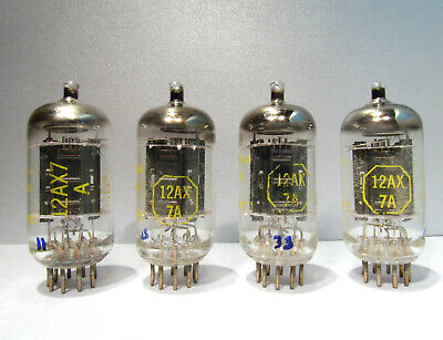 12AX7A Raytheon for Baldwin Black Plate Halo Strong Close Triodes Lot of 4