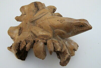 """Frog Hand Carved Wood Parasite Sculpture Statue 6"""" long"""