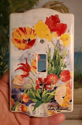 Ceramic Single Light Switch Plate Wall Covers~Judy Briswell Floral Flowers poppy