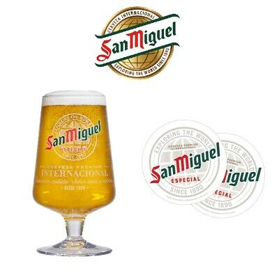 SAN MIGUEL Official Half Pint Toughened Chalice Glass & 5 Beer Mats