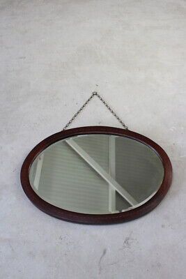 Antique Edwardian Vintage Mahogany Inlaid Oval Mirror