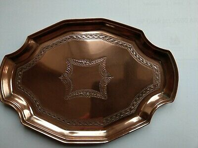 vintage drinks tray calling card tray copper engraved Victorian arts and crafts