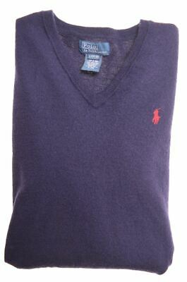 POLO RALPH LAUREN Boys V-Neck Jumper Sweater 14-15 Years Large Navy Blue  M204