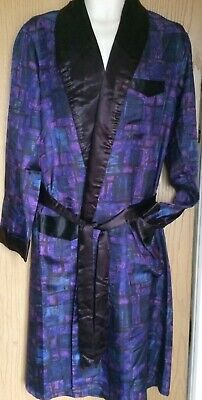 "Mens vintage 🧥dressing gown 💙blue & 💜purple patterned robe size 40""😎"