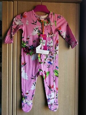 Ted Baker Baby Girl Floral Sleepsuit Babygrow Set With Headband size 9-12 Months