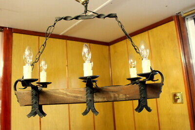 Antique Rustic French Vintage Handmade Cast Iron/Wood Ceiling Light Chandelier