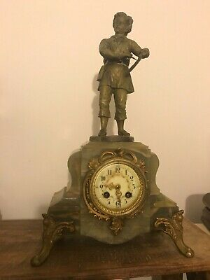 Antique medaille d' argent French bronze and marble mantle clock