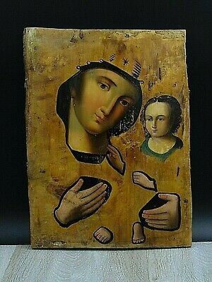 Antique 19th Russian Hand Painted Wood Orthodox Large icon Mother of God
