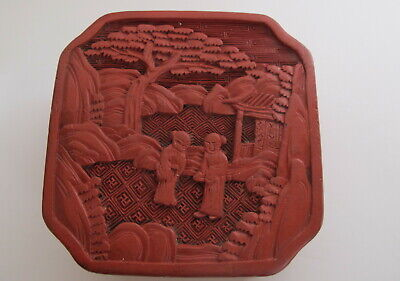 Antique Chinese Deep Carved Red Cinnabar Lacquer Box Early Lacquerware