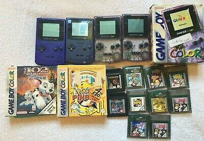 Gameboy Colour Bundle Lot - 4 Consoles 1 Boxed, With 11 Games