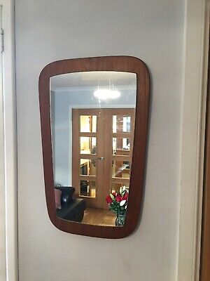 💝💝Vintage Retro Teak  Danish Mid Century Asymmetrical Shaped wall hung  Mirror