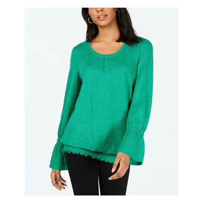 Size L, Style & Co Womens Smocked-Hem Top Peacock Green NWT