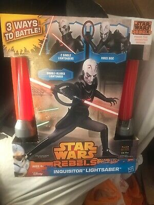 The Inquisitor Star Wars Rebels Lightsaber Double Bladed 2014 Hasbro Toy••RARE••