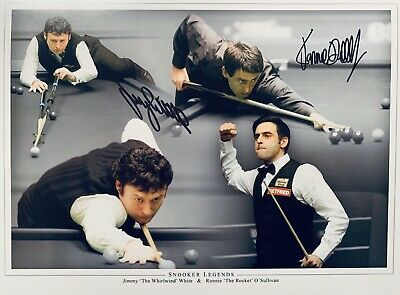 Jimmy White & Ronnie O'Sullivan HAND SIGNED 20x16 Snooker Print *In Person* COA