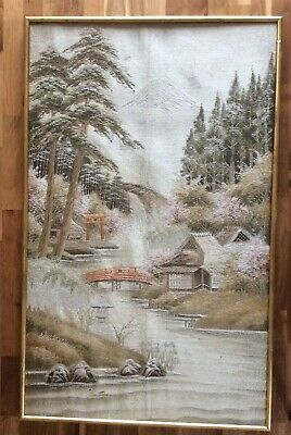 Large Antique Framed  Embroidery Of A Japanese Landscape With Mount Fuji