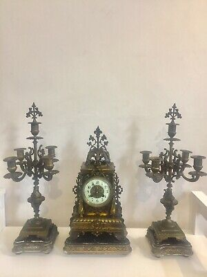 Antique French Gilt Bronze Clock Set Garniture On Wood Plinth By Japy C1870!