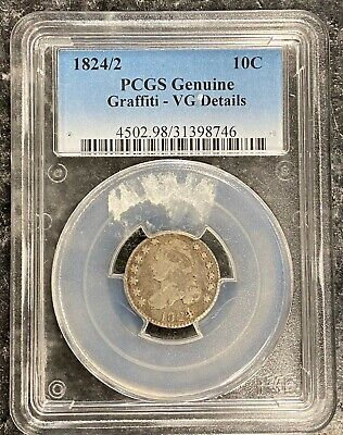 1824/2 U.s. Silver Capped Bust Dime ~ Pcgs Graded Very Good Details! Nr!