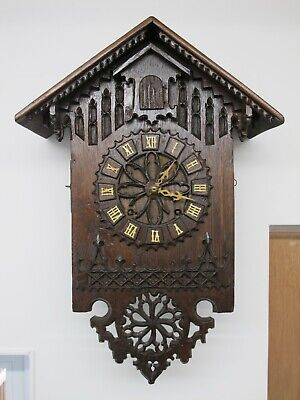 Rare Large Antique Furderer & Jaegler Fusee Black Forest Cuckoo Clock