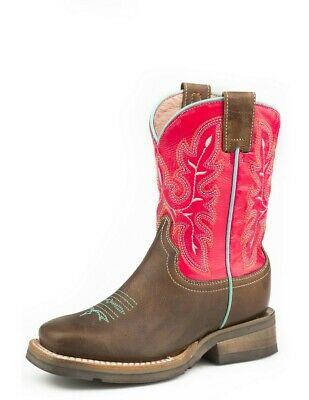 09-018-7022-1426 Br ROPER Girls Arrows Burnished Leather Cowgirl Boot Square Toe