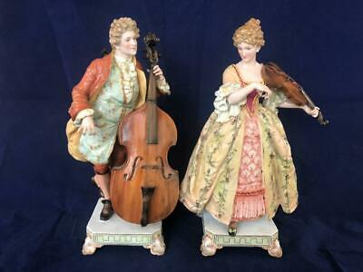 Stunning Pair Of Antique French Paris Porcelain Hand Painted Musician Figures.