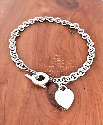 """TIFFANY & CO. 925 Silver Blank Engravable Heart Tag Toggle Clasp Necklace 16"""""""