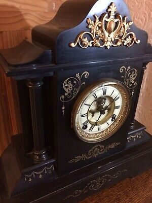 "Antique Victorian black slate mantel clock - 16"" x 16"" Movement Needs Cleaning"
