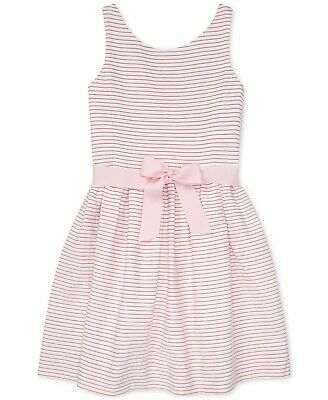 Polo Ralph Lauren Big Girls Striped Fit & Flare Cotton Dress - White/Pink - 16