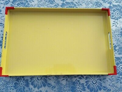 Georges Briard vtg mod yellow red tray w handles decor Mid Century 60s