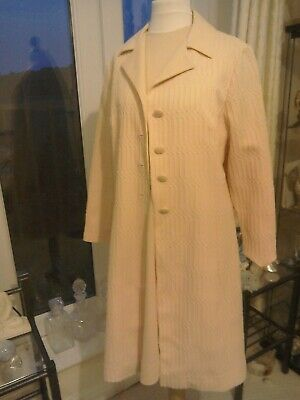 VINTAGE 60'S LADIES PINK CRIMPLENE  Dress & Coat SUIT
