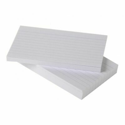 50 x Silvine Record Cards Revision/Flash/Index/White/Ruled 8 x 5''